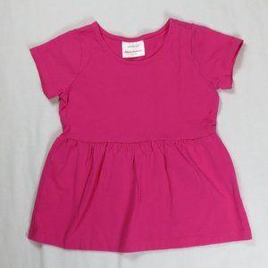 Hanna Andersson 100 4T 4 Peplum Top Shirt Pink